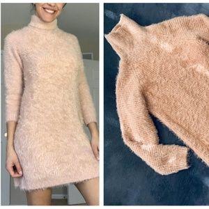 MINKPINK Blush Pink fuzzy Sweater Dress MSRP $110